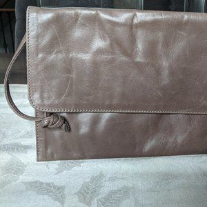 M0851 Flap Wristlet Taupe Leather Clutch